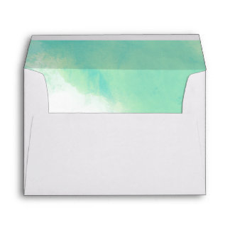 Ocean Blue Abstract Watercolor Wedding Envelope