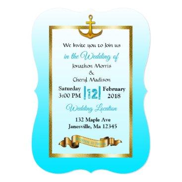 Beach Themed Ocean Blue Anchor  Gold Wedding Invitation
