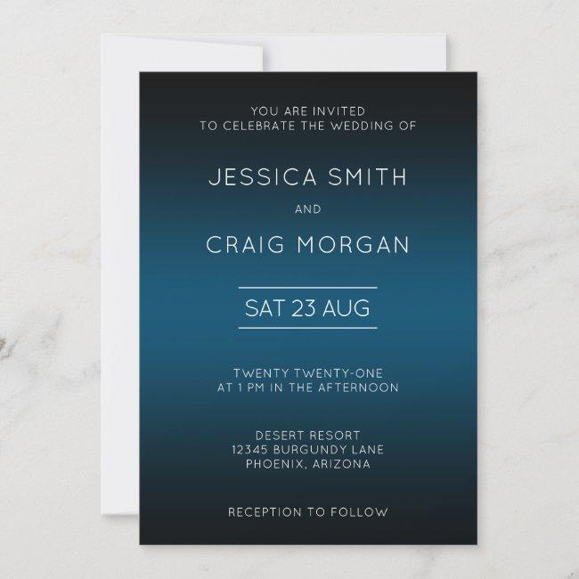 Ocean Blue and Black Ombre Wedding Invitation