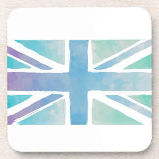 Ocean Blue and Green - Watercolor British Flag Beverage Coaster