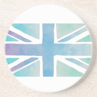 Ocean Blue and Green - Watercolor British Flag Drink Coaster