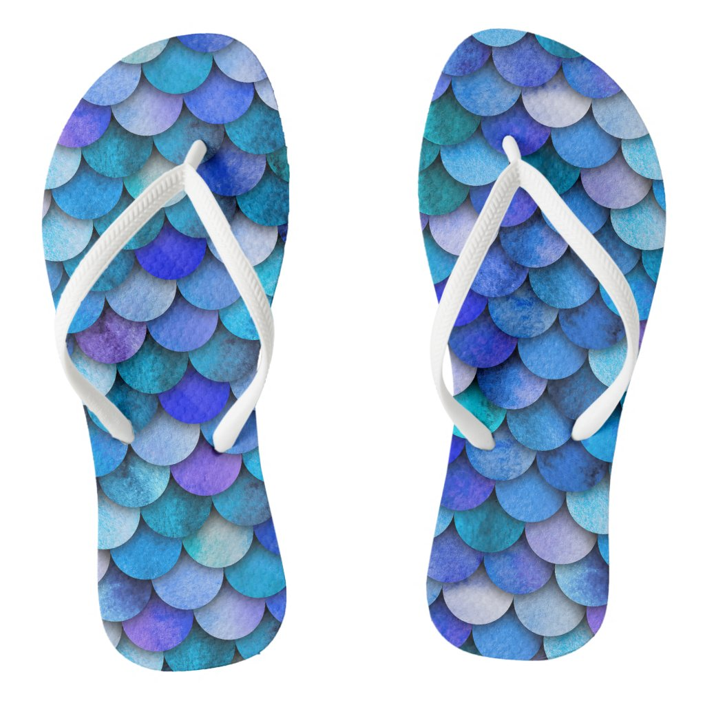 Ocean blue and purple mermaid scale pattern flip flops