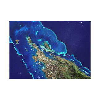 Ocean Blue and Turquoise Satellite Image Canvas Print