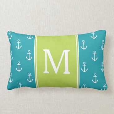 Beach Themed Ocean Blue and White Anchors With Palm Monogram Lumbar Pillow