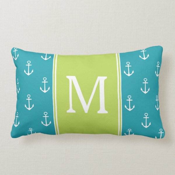 Ocean Blue and White Anchors With Palm Monogram Lumbar Pillow