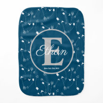 Ocean Blue and White arrows pattern Monogrammed Baby Burp Cloth