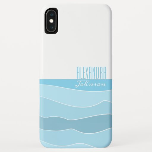 Ocean Blue and White Cool Monogram Name iPhone XS Max Case