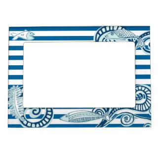 Ocean Blue and White Horizontal Stripe Magnetic Frame