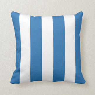 Ocean Blue and White Striped Throw Pillow