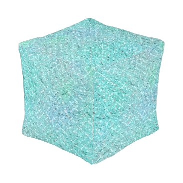 Ocean Blue Beach Home Tiffany Mint Aqua Glam VIP Outdoor Pouf