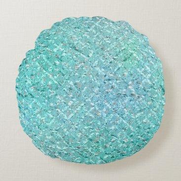 Beach Themed Ocean Blue Beach Home Tiffany Mint Green Aqua Glam Round Pillow