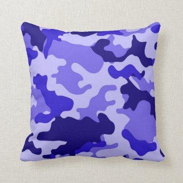 Ocean Blue Camo Throw Pillow