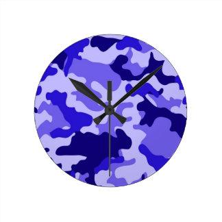 Ocean Blue Camo Wall Clock. Round Clock