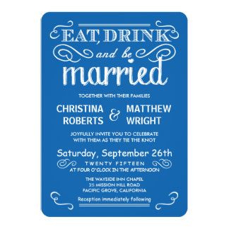 Ocean Blue Casual Country Wedding Invitations