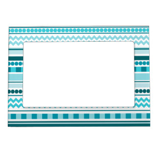 Ocean Blue Chevron, Checkers, Dots & Stripes Magnetic Picture Frame
