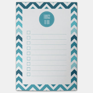 Ocean Blue Chevron Ombre ZigZag To Do List Post-it Notes