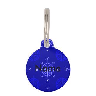 Ocean Blue Compass Rose Pet Name Tag
