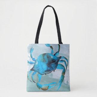 Ocean Blue Crab Watercolor Paint Tote Bag