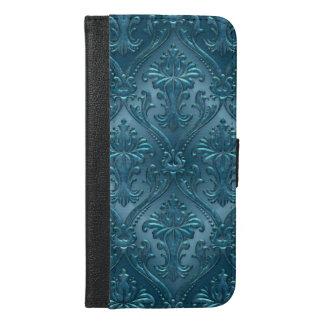 Ocean Blue Damask Gem Tone Tin Tile Steampunk iPhone 6/6s Plus Wallet Case