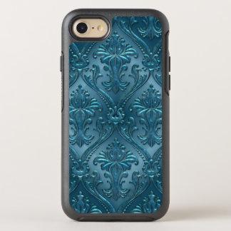 Ocean Blue Damask Gem Tone Tin Tile Steampunk OtterBox Symmetry iPhone 7 Case