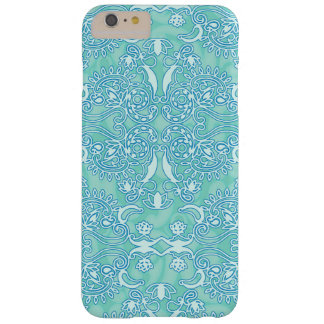 Ocean Blue Damask Grungy Finish Vintage Barely There iPhone 6 Plus Case