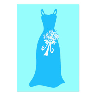 Ocean blue dress with bouquet business cards