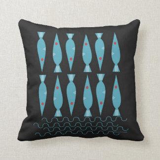 Ocean Blue Fish Throw Pillow