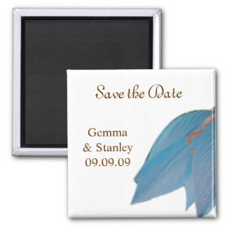 Ocean Blue Flower Save the Date Magnet