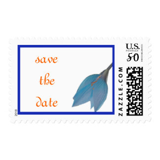 Ocean Blue Flower Save the Date Stamp