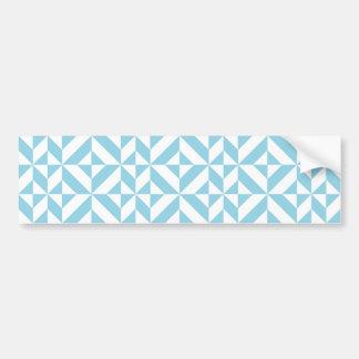 Ocean Blue Geometric Deco Cube Pattern Bumper Sticker