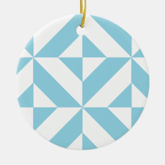 Ocean Blue Geometric Deco Cube Pattern Christmas Ornaments