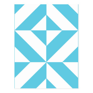Ocean Blue Geometric Deco Pattern Postcard