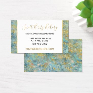 Professional Business Ocean Blue Gold Abstract Business Card