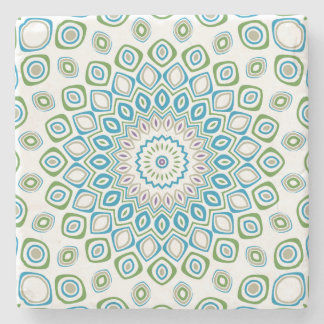 Ocean Blue, Gray and White Kaleidoscope Flowers Stone Beverage Coaster