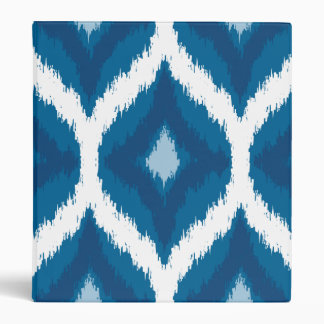 Ocean Blue Ikat Modern Ethnic Geometric Print 3 Ring Binders