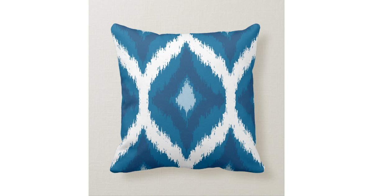 Ocean Blue Decorative Pillows : Ocean Blue Ikat Modern Ethnic Geometric Print Throw Pillow Zazzle