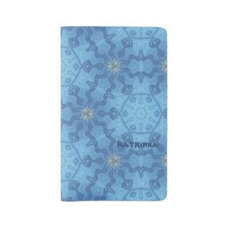 Ocean Blue island Batik Pattern Custom Name Large Moleskine Notebook