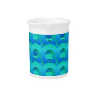 Ocean Blue Layered Circles Pitcher