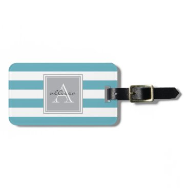 Beach Themed Ocean Blue Monogrammed Awning Stripe Luggage Tag