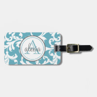 Ocean Blue Monogrammed Damask Print Bag Tag