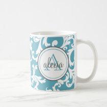 Ocean Blue Monogrammed Damask Print Coffee Mug