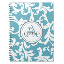 Ocean Blue Monogrammed Damask Print Notebook