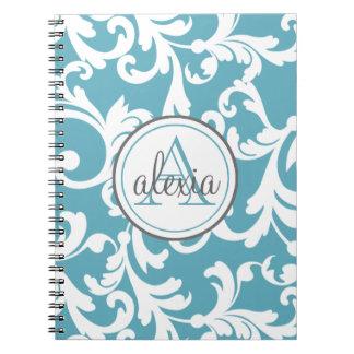 Ocean Blue Monogrammed Damask Print Spiral Note Book