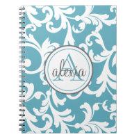 Ocean Blue Monogrammed Damask Print Spiral Notebook