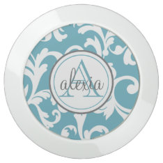 Ocean Blue Monogrammed Damask USB Charging Station at Zazzle