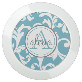 Ocean Blue Monogrammed Damask USB Charging Station