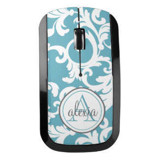 Ocean Blue Monogrammed Damask Wireless Mouse