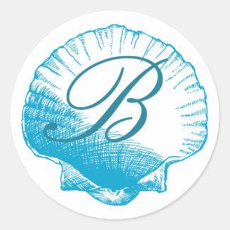 Ocean Blue Monogrammed Sea Shell Sticker