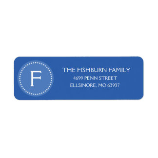 Ocean Blue Muted Monogram Custom Monogrammed Label
