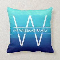Ocean Blue Ombre Family Name & Monogram Throw Pillow